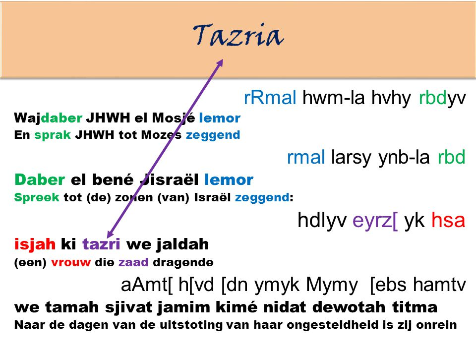 Tazria hdlyv eyrz[ yk hsa rRmal hwm-la hvhy rbdyv